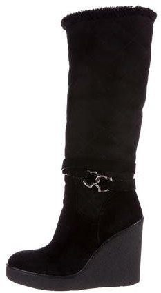 Moncler Moncler Shearling Wedge Boots