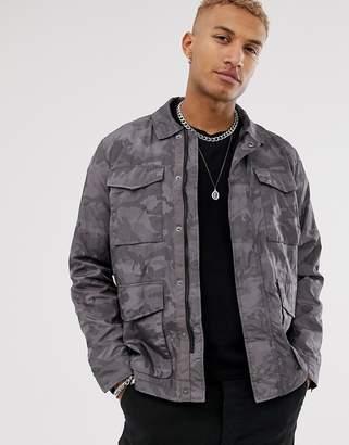 ca3e94475ca7e Asos Design DESIGN utility jacket with camo print in grey