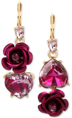 Betsey Johnson Two-Tone Pink Crystal Heart & Flower Mismatch Earrings