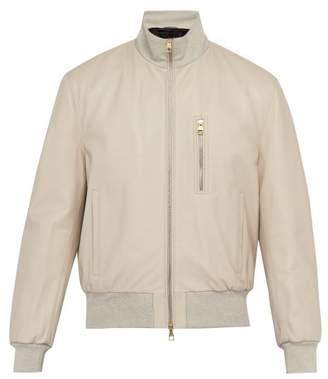 e89e92e2f0f Dunhill Flyers Leather Bomber Jacket - Mens - Grey