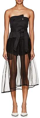 J KOO Women's Tulle-Trimmed Strapless Trench Bustier Top - Black