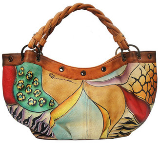 ANUSCHKA Hand-Painted Leather Braided Handle Large Ruched Hobo Bag $221 thestylecure.com