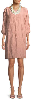 Eileen Fisher Textured Organic Cotton-Blend Shift Dress