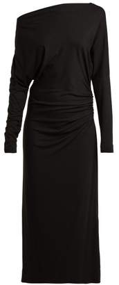 Vivienne Westwood Thigh Boat Neck Ruched Midi Dress - Womens - Black