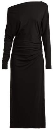 Vivienne Westwood Thigh Boat Neck Ruched Midi Dress - Womens - Black