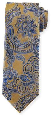Canali Woven Paisley Silk Tie, Yellow