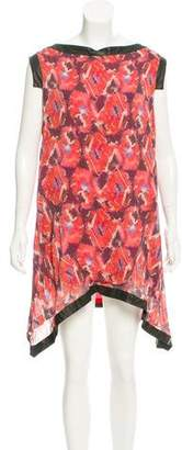 Thakoon Leather-Trimmed Mini Dress