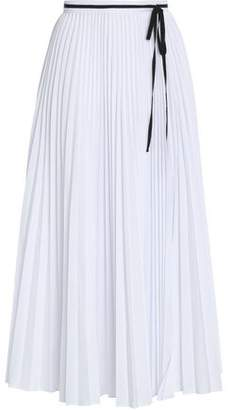 Oscar de la Renta Pleated Poplin Midi Skirt