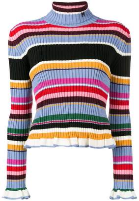 MSGM striped frill trim jumper