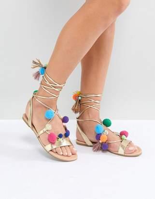 Asos DESIGN FACEMASK Pom Pom Flat Sandals