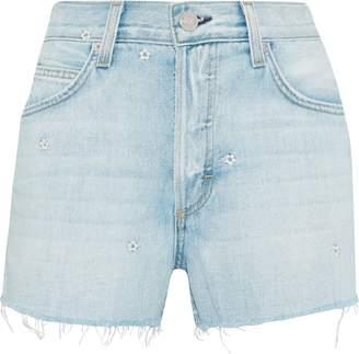 Amo Babe Embroidered Frayed Denim Shorts