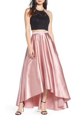 Sequin Hearts Glitter Lace & Satin High/Low Two-Piece Evening Dress