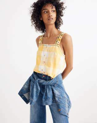 Madewell Embroidered Check Cami Top