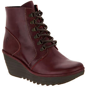 Fly London Leather Lace-up WedgeAnkle Boots