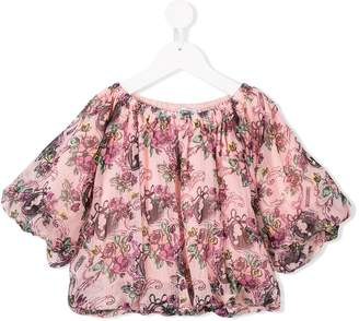 Moschino Kids ruched floral blouse
