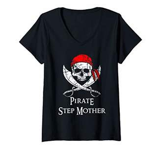 Womens Pirate Step Mother Skull And Crossbones Flag V-Neck T-Shirt