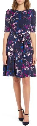Eliza J Floral Print Ruched Sleeve Fit & Flare Dress
