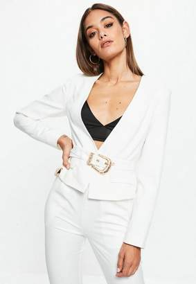 Missguided White Cropped Western Belt Blazer, White