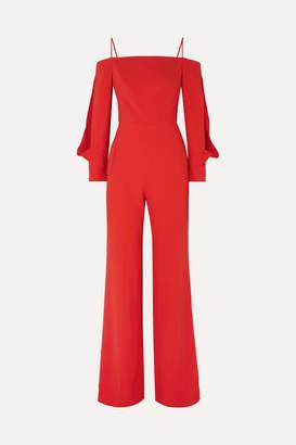 Roland Mouret Marlow Cold-shoulder Crepe Jumpsuit - Crimson