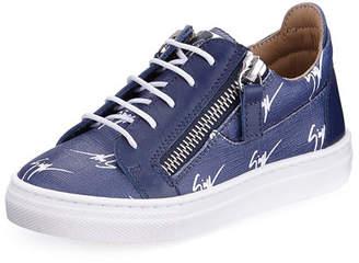 Giuseppe Zanotti Logo-Print Leather Low-Top Sneakers, Kids' Sizes