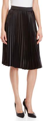 Lucy Paris Pleated Satin Midi Skirt