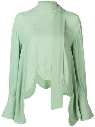 Valentino scalloped hem blouse