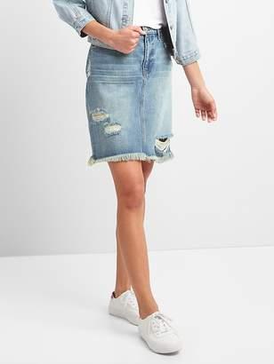 Gap 5-Pocket Denim Pencil Skirt in Distressed