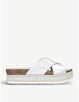 Carvela Kake metallic leather flatform sandals