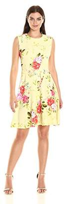 Sandra Darren Women's 1 Pc Extended Shoulder Floral Printed Knit Fit and Flare Dress