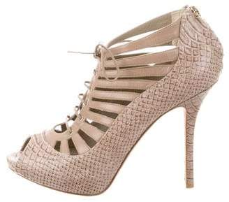 Christian Dior Lace-Up Snakeskin Pumps