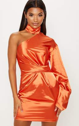 PrettyLittleThing Orange Satin High Neck One Shoulder Bodycon Dress