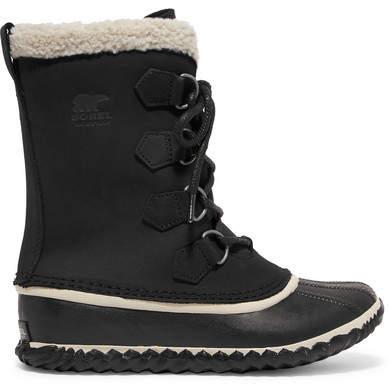 Sorel - Caribou Slim Waterproof Nubuck And Rubber Boots - Black