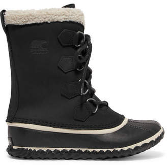 Sorel Caribou Slim Waterproof Nubuck And Rubber Boots - Black