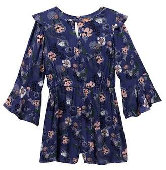 Harper Canyon Long Sleeve Floral Romper (Big Girls)