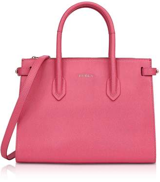 Furla Ortensia Leather E/w Pin Small Tote Bag
