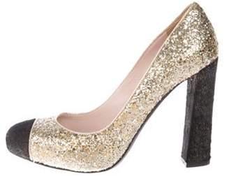 Miu Miu Glitter Round-Toe Pumps Gold Glitter Round-Toe Pumps