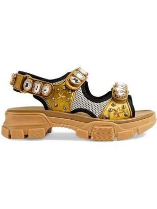 Gucci Aguru Bejeweled Plastic Croc Flats
