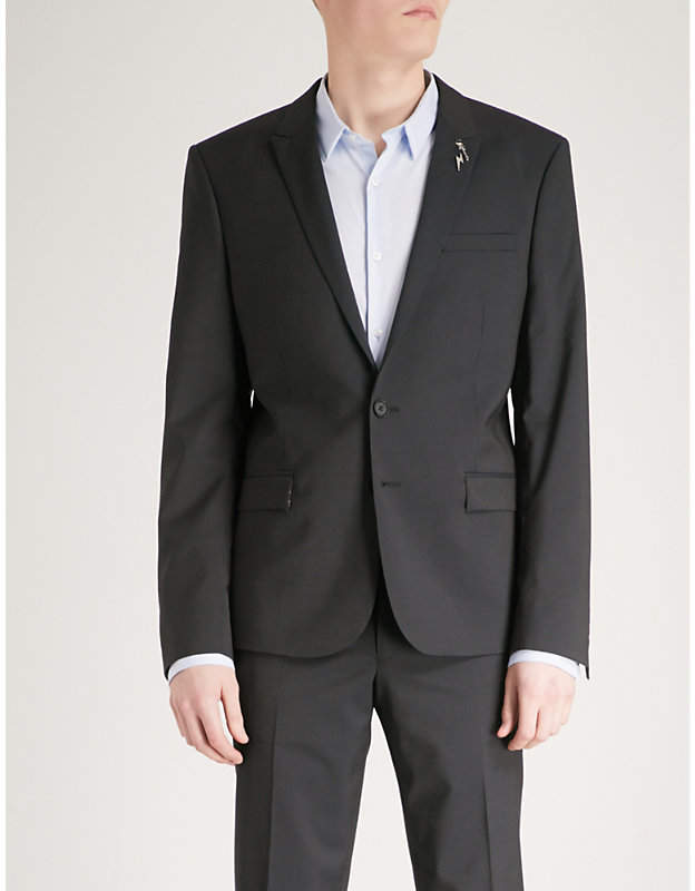 Slim-fit wool and mohair-blend jacket