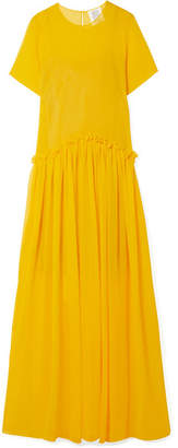 Rosie Assoulin Ebbs And Flows Ruffle-trimmed Cotton-voile Maxi Dress - Yellow