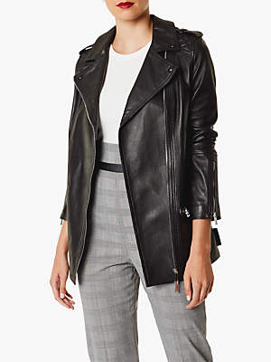 Karen Millen Longline Leather Jacket, Black