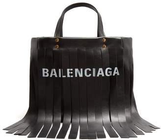 Balenciaga Laundry Fringes Xs Bag - Womens - Black White