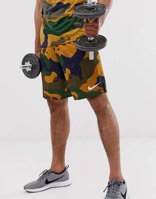 Nike Training camo shorts in brown