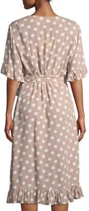 Flossy Shanty Polka-Dot Crepe Wrap Dress