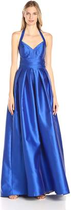 Carmen Marc Valvo Women's V Neck Mikado Ballgown with Mesh Illusion Insets In Back