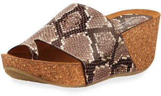 061f58120aa7 Donald J Pliner Ginie Snake-Print Leather Wedge Slide Sandals