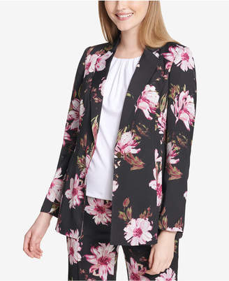 Calvin Klein One-Button Floral-Print Jacket