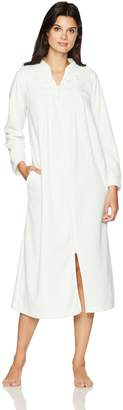 Miss Elaine Women's Brushed Back Terry Long Zipper Robe