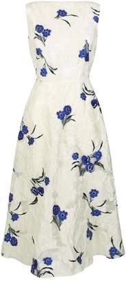 Lela Rose Boat-Neck Floral Print Dress