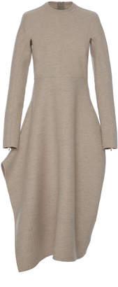 Jil Sander Leven Folded Wool Midi Dress