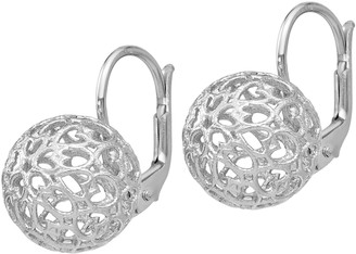 Italian Silver Cutout Heart Ball Lever Back Earrings